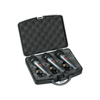 Wharfedale DM5S3 Super Cardioid Dynamic Microphone 3 pack in case, with clips