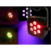 Light Emotion FLAT0307 LED Flat Wash Fixture 7x3W 3-in-1 LED RGB. Piggy back plug, double yoke.