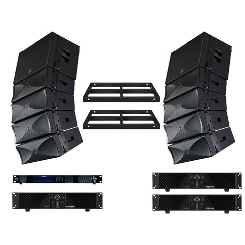 Wharfedale LINEARRAY1 Complete 4600w RMS Line Array System: 8 x WLA28, 2 x WLA15B, 1 x CPD3600, 2 x CPD2600, 2 x WLA28FF, 1 x VERSADRIVE + more